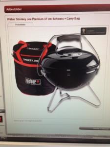grill, weber, smokey, joe, tasche